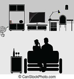 couple in the room vector