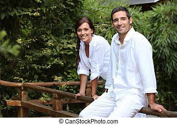 couple in their garden