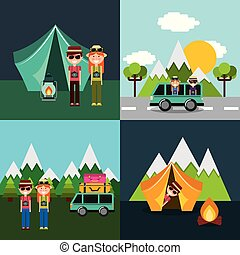 couple in vacations camping mountains tent car van set