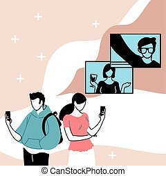 couple in virtual meeting with friends