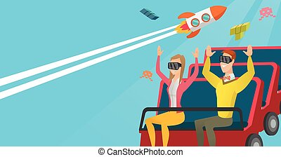 Couple in vr headset riding on a roller coaster.