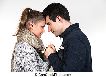 couple in winter clothes