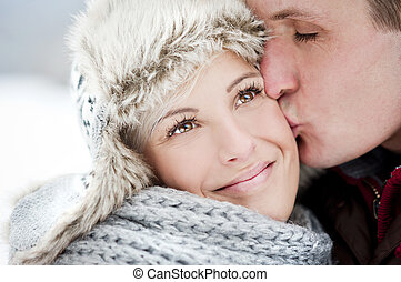 Couple in winter - Happy couple is having romantic time in ...