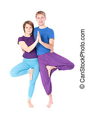 couple in yoga pose
