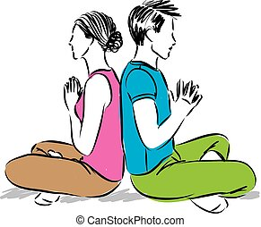 couple in yoga position meditation vector illustration