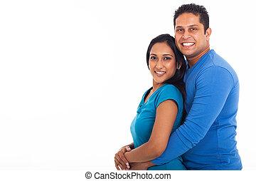 couple, indien, jeune, fond, blanc