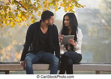 couple, informatique, parc, tablette, heureux