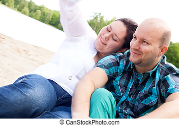 Couple is enjoying the wind