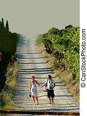 couple is having a walk