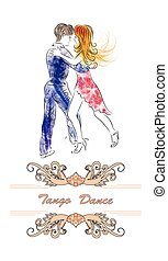 Couple is latino dancing in watercolor on white  background