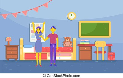 couple is preparing a kids room at home