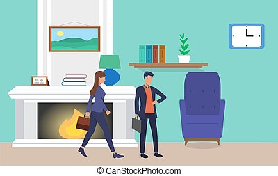 couple is ready to go office at home