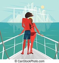 Couple is sailing on a boat to the big city