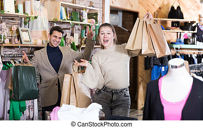Couple is satisfied shopping