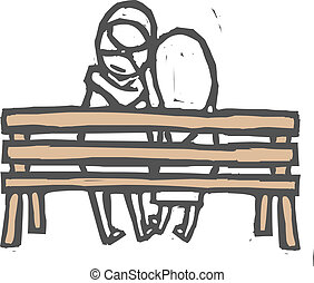 Couple is sitting on a bench
