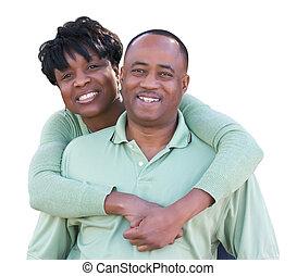 couple, isolé, arrière-plan., américain, séduisant, africaine, blanc