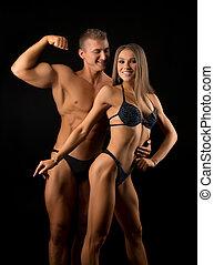 couple, isolé, noir, fitness, beau, coup