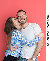 couple isolated on red Background