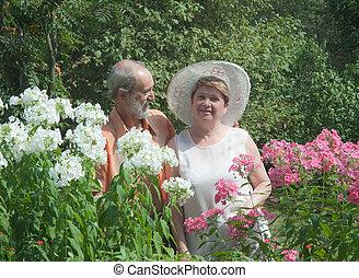 couple, jardin, mûrir
