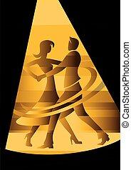 couple, jaune, tache, light., danse, salle bal