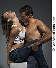 couple, jean, scène, sexe, érotique, sexy, avoir