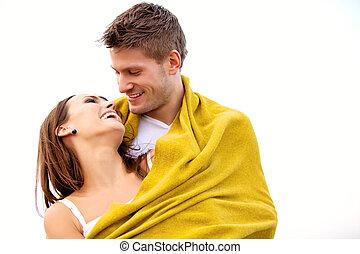 couple, jeune, amusement, plage, avoir, heureux