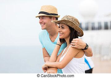 couple, jeune, croisière