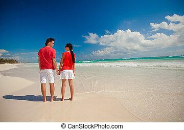 couple, jeune, exotique, autre, chaque, apprécier, plage, vue postérieure
