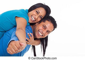 couple, jeune, ferroutage, indien, amusement, avoir