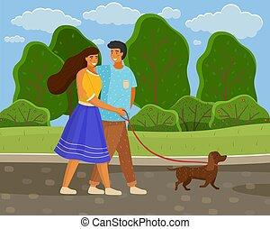 couple, jeune fille, long, amour, route, chien, loisir, wallking, été, parc, laisse, type