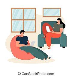 couple, jeune, livingroom, portables, utilisation, ...