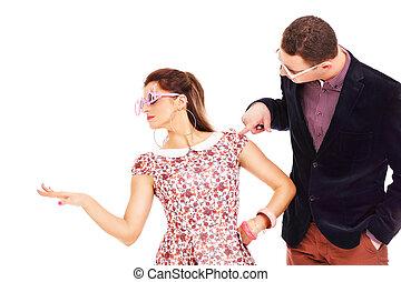 couple, jeune, lunettes