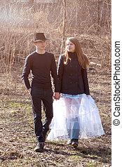couple, jeune, marche