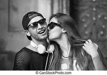 couple, jeune, mode