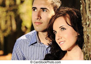 couple, jeune, nature