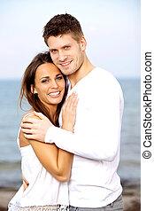 couple, jeune, quoique, poser, sourire, agréable