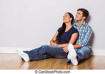 couple, jeune, séance, plancher