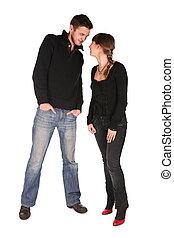 couple, jeune, stands