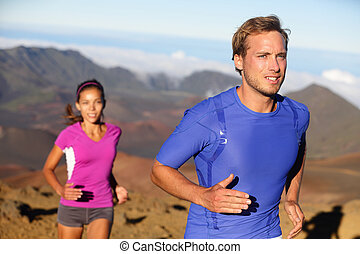 couple, jeune, traîner courir, athlètes, coureurs