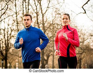 couple, jogging, ensemble