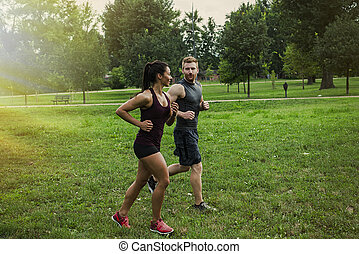 couple, jogging
