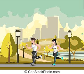 Couple jogging in the city park