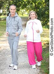 couple, jogging, personnes agées