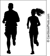 Couple jogging silhouette