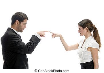 couple, joindre, doigts, séduisant