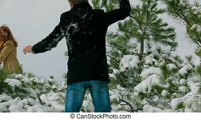 couple, jouer, heureux, boules neige, jeune, hiver, parc, pin