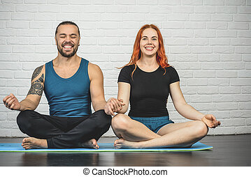 couple, jouir de, yoga