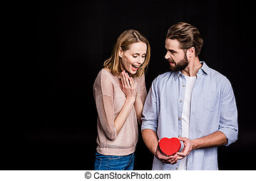 couple, jour, cadeau, valentine