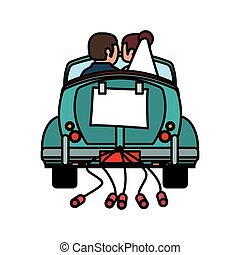 couple just married car