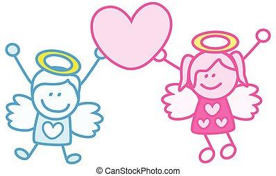 Couple kids angel